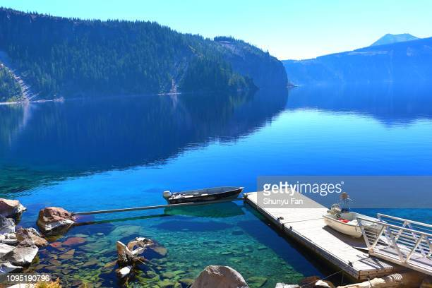 crater lake - volcanic landscape stock pictures, royalty-free photos & images
