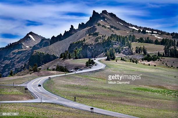 crater lake road - medford oregon stock photos and pictures
