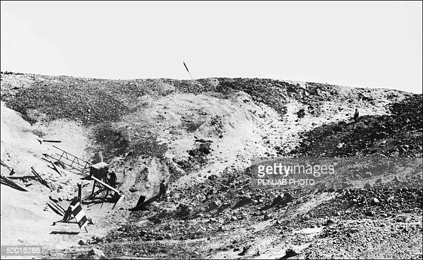 A crater marks the site of the first Indian underground nuclear test conducted 18 May 1974 at Pokhran in the desert state of Rajasthan After a gap of...