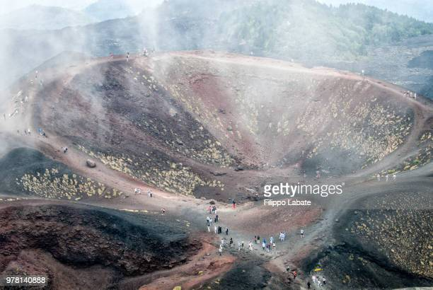 crater of etna volcano, sicily, italy - mt etna stock pictures, royalty-free photos & images