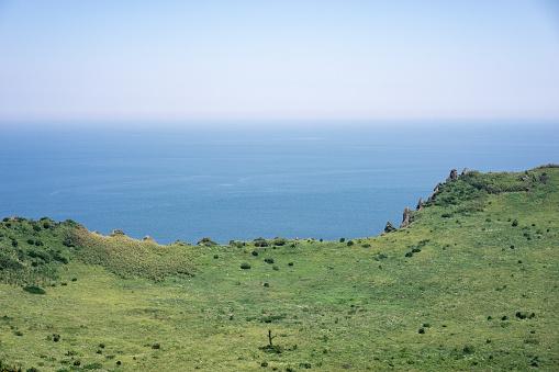 Crater of Sunrise Peak (Seongsan Ilchulbong) on Jeju Island, South Korea - gettyimageskorea