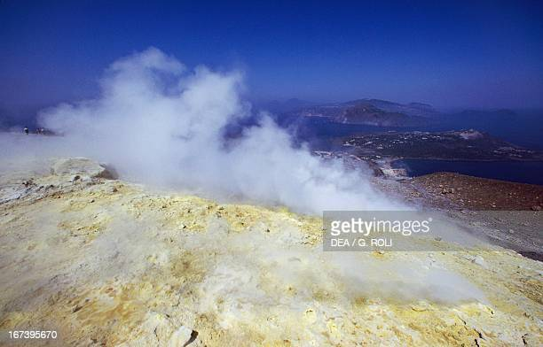 Crater on the island of Vulcano Aeolian Islands or Lipari Sicily Italy
