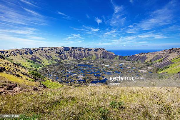 crater rano kau volcano easter island chile - volcanic crater stock photos and pictures