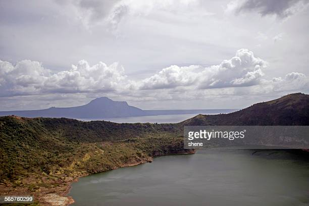 crater taal landscape - taal volcano stock photos and pictures