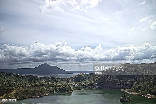 crater taal under the sky - taal volcano stock photos and pictures