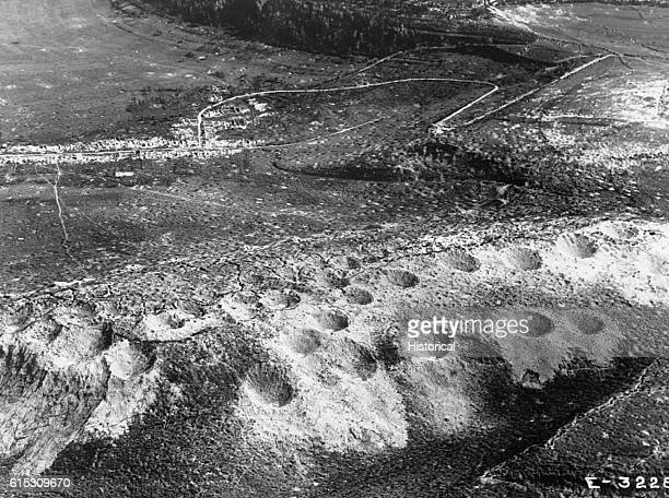 Craters dot Combres Hill, France, reminders of bombs and artillery fire. Ca. 1918-1919. | Location: Combres Hill, France.