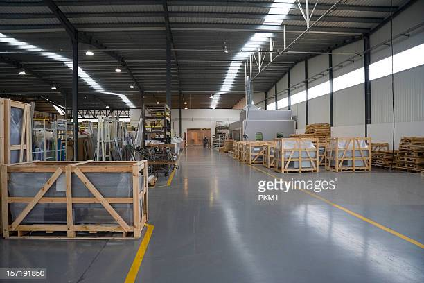 Crates in newly built factory
