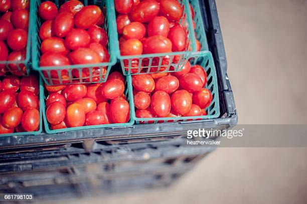 crates of cherry tomatoes at farmers market