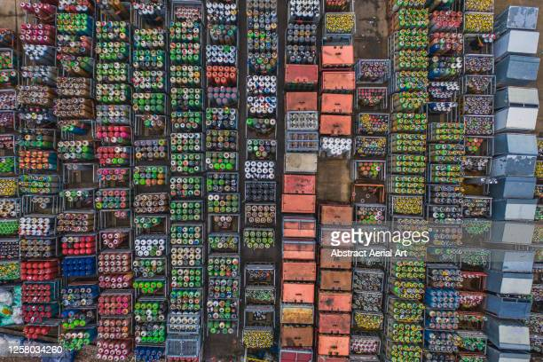 crates of gas cylinders photographed from above, england, united kingdom - factory stock pictures, royalty-free photos & images