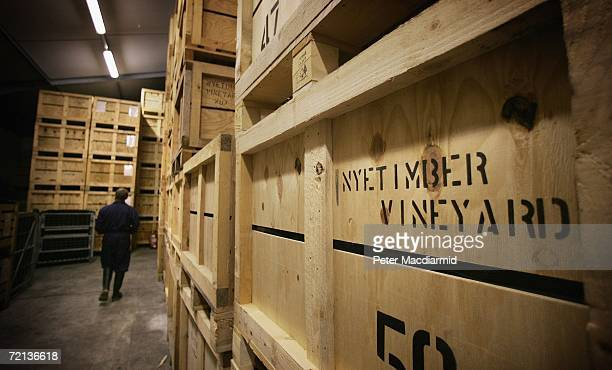 Crates of sparkling wine are are stored in the winery at the Nyetimber vineyard on October 10 2006 in West Chiltington England The grape harvest at...