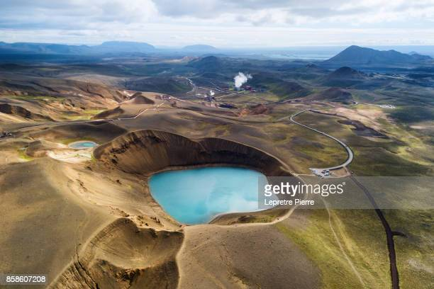 cratère de viti - volcanic crater stock photos and pictures