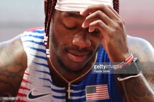 Cravon Gillespie of Team United States reacts after coming in sixth in round one of the Men's 4 x 100m Relay Heat 2 on day thirteen of the Tokyo 2020...