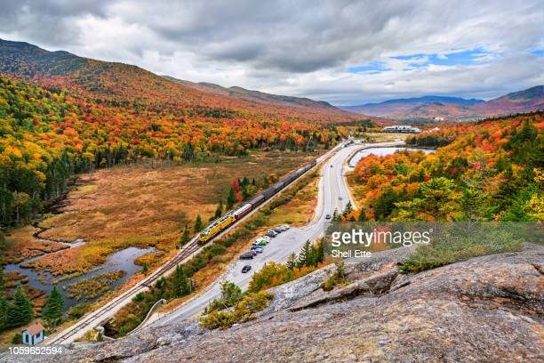 crawford notch scenic railroad - crawford notch stock pictures, royalty-free photos & images