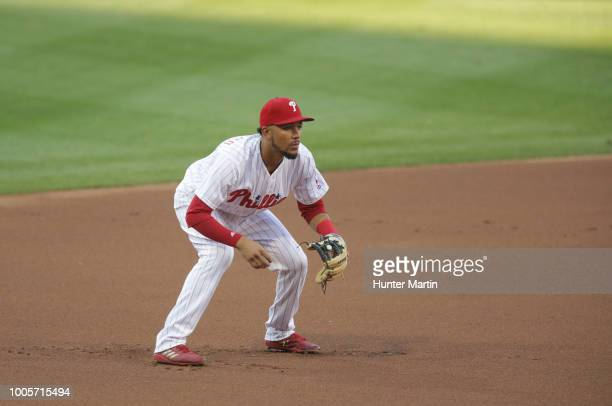 P Crawford of the Philadelphia Phillies during a game against the St Louis Cardinals at Citizens Bank Park on June 19 2018 in Philadelphia...