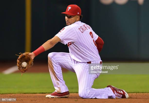 P Crawford of the Philadelphia Phillies fields a ground ball in the ninth inning against the Miami Marlins at Citizens Bank Park on September 14 2017...