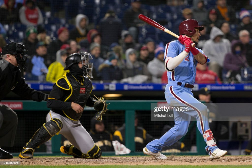 J.P. Crawford #2 of the Philadelphia Phillies hits an RBI single in the bottom of the fifth inning against the Pittsburgh Pirates at Citizens Bank Park on April 19, 2018 in Philadelphia, Pennsylvania. The Phillies defeated the Pirates 7-0.