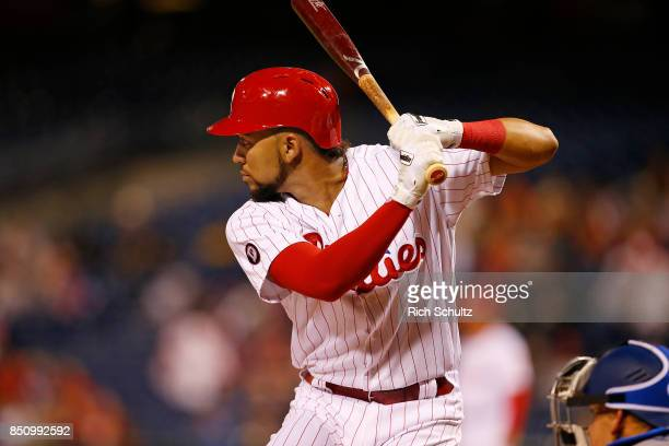 P Crawford of the Philadelphia Phillies in action against the Los Angeles Dodgers during a game at Citizens Bank Park on September 19 2017 in...