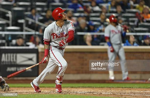P Crawford of the Philadelphia Phillies in action against the New York Mets during a game at Citi Field on September 8 2018 in the Flushing...