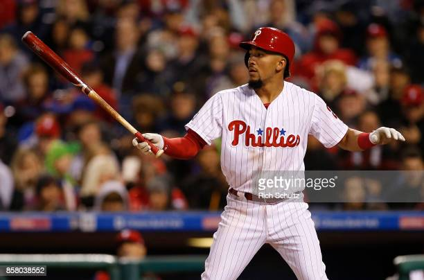 P Crawford of the Philadelphia Phillies in action against the New York Mets during a game at Citizens Bank Park on September 30 2017 in Philadelphia...