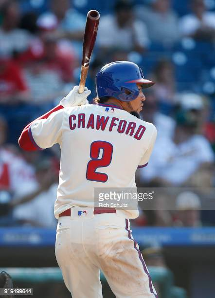P Crawford of the Philadelphia Phillies in action against the Oakland Athletics during a game at Citizens Bank Park on September 17 2017 The A's...