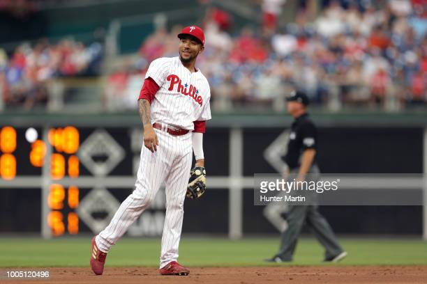 P Crawford of the Philadelphia Phillies plays shortstop during a game against the St Louis Cardinals at Citizens Bank Park on June 18 2018 in...