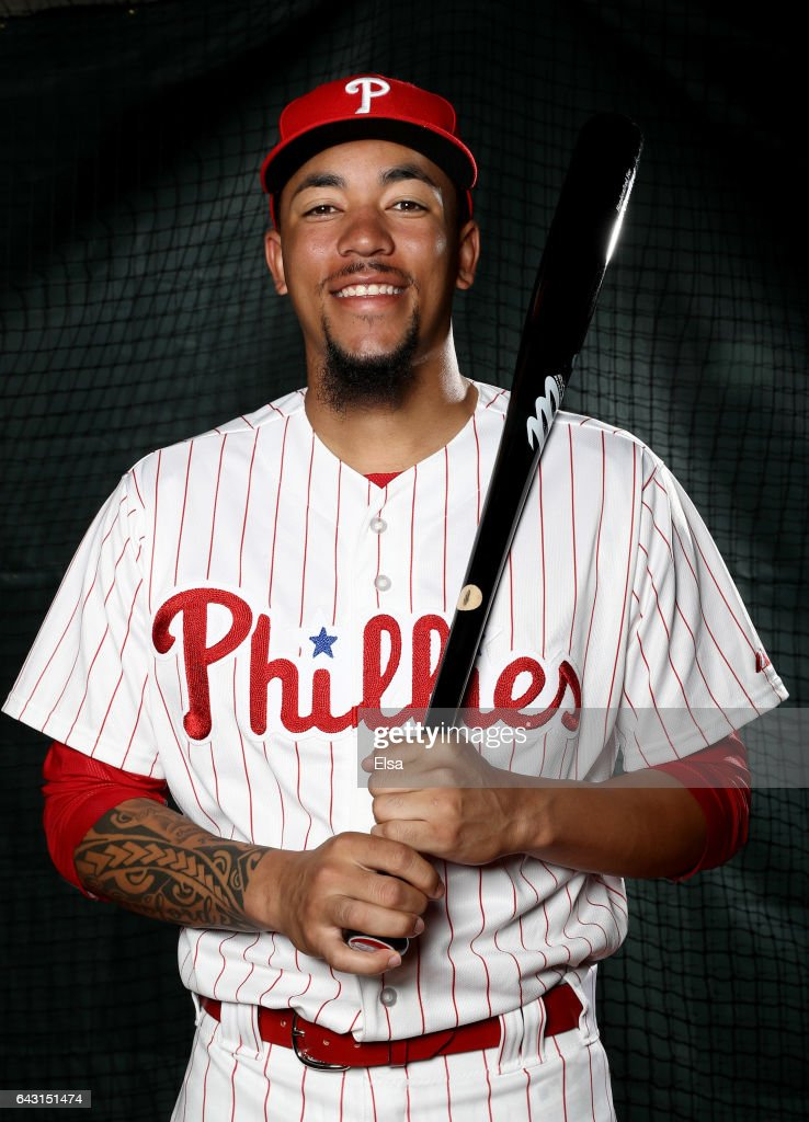 J.P. Crawford #67 of the Philadelphia Phillies poses for a portrait during the Philadelphia Phillies photo day on February 20, 2017 at Spectrum Field in Clearwater,Florida.