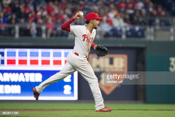 P Crawford of the Philadelphia Phillies throws the ball to first base against the Atlanta Braves at Citizens Bank Park on April 27 2018 in...