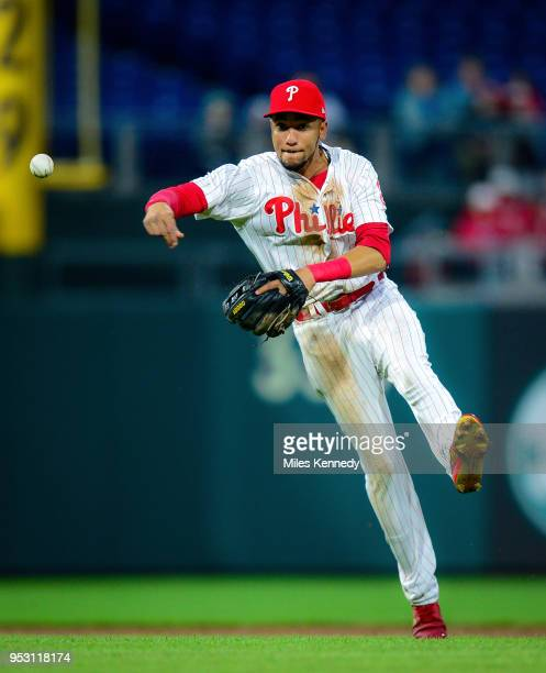 P Crawford of the Philadelphia Phillies throws to first base against the Atlanta Braves during the third inning at Citizens Bank Park on April 27...