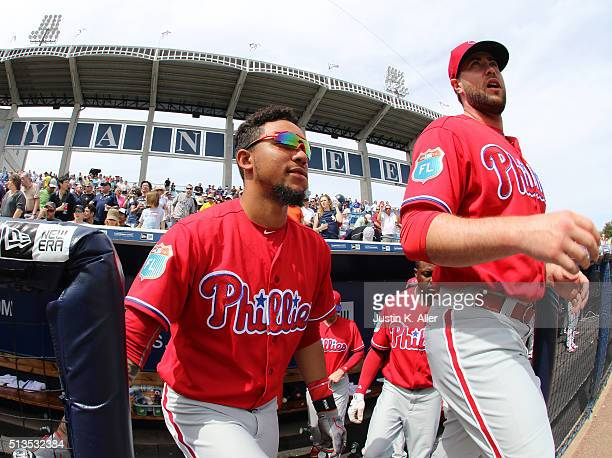 P Crawford of the Philadelphia Phillies walks onto the field for the National Anthem before the game against the New York Yankees at George M...
