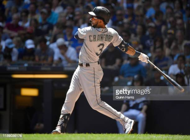 P Crawford of the Seattle Mariners gets a hit in the third inning against the Milwaukee Brewers at Miller Park on June 27 2019 in Milwaukee Wisconsin