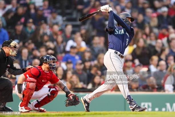 P Crawford of the Seattle Mariners makes his debut at bat in the third inning of a game against the Boston Red Sox at Fenway Park on May 10 2019 in...