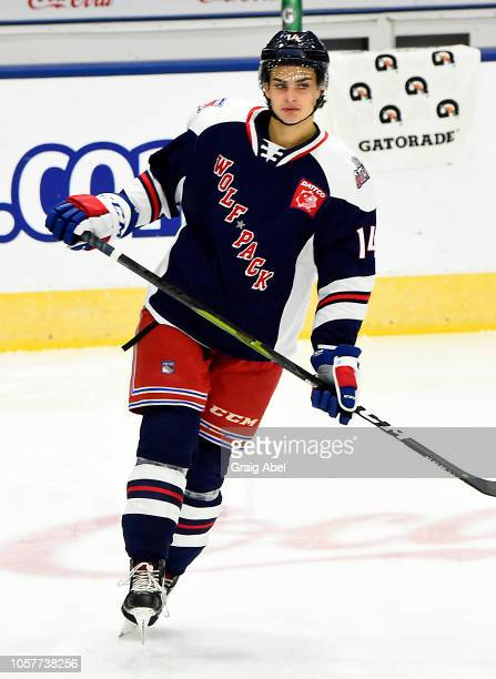 Crawley Brandon of the Hartford Wolf Pack skates in warmup prior to a game against the Toronto Marlies during AHL game action on October 20, 2018 at...