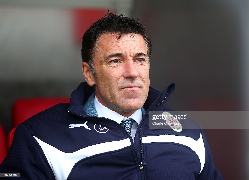 Crawley manager Dean Saunders during the Sky Bet League One match between Crawley Town and Gillingham at The Checkatrade.com Stadium on March 28, 2015 in Crawley, England.