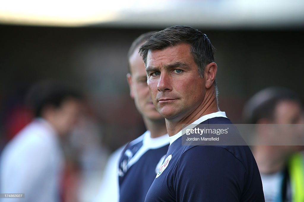 Crawley Town FC manager Richie Barker looks on ahead of the pre-season friendly against Brighton and Hove Albion at Broadfield Stadium on July 24, 2013 in Crawley, West Sussex.