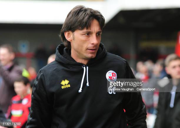 Crawley Town manager Gabriele Cioffi during the Sky Bet League Two match between Crawley Town and Lincoln City at Checkatradecom Stadium on March 23...