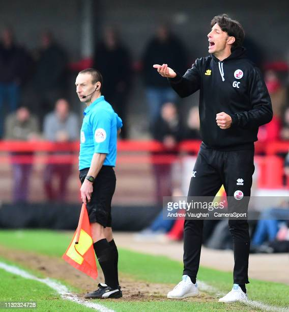 Crawley Town manager Gabriele Cioffi shouts instructions to his team from the technical area during the Sky Bet League Two match between Crawley Town...