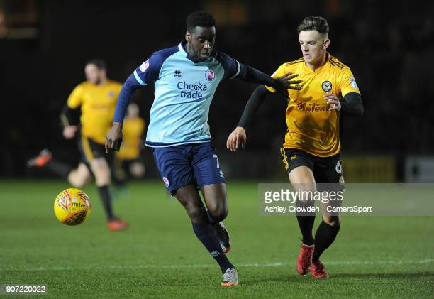 Crawley Town's Enzio Boldewijn battles with Newport County's Ben White during the Sky Bet League Two match between Newport County and Crawley Town at...