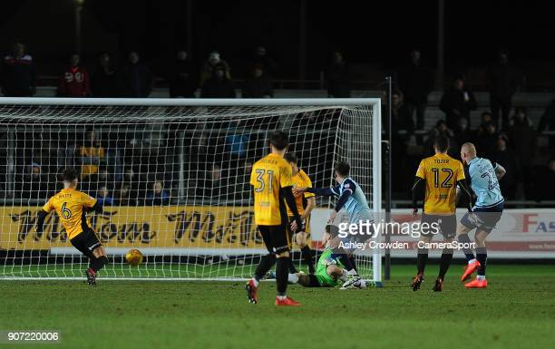 GOAL Crawley Town's Jimmy Smith scores his side's first goal during the Sky Bet League Two match between Newport County and Crawley Town at Rodney...