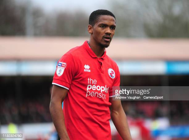 Crawley Town's Lewis Young during the Sky Bet League Two match between Crawley Town and Lincoln City at Checkatradecom Stadium on March 23 2019 in...