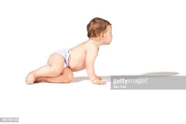 crawling baby - diaper boy stock photos and pictures
