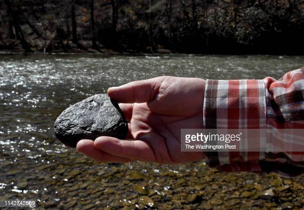 Crayfish expert Roger Thoma holds a chunk of coal he found in the Guyondotte River near Madison West Virginia on 3/12/19 Just yards away is Elk Creek...