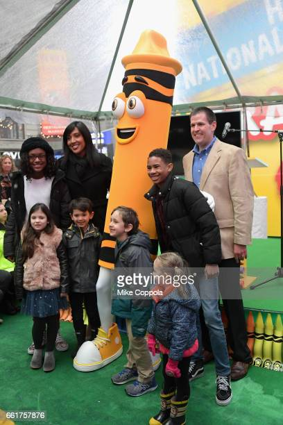 Crayola CEO and President Smith Holland and SVP of US and Global Marketing Melanie Boulden joined by excited kids celebrate Dandelions retirement on...