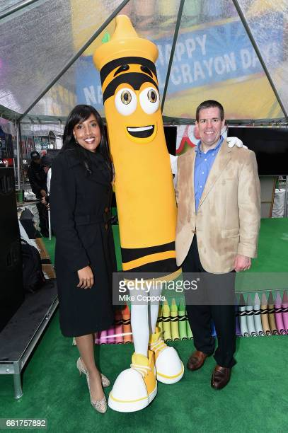 Crayola CEO and President Smith Holland and SVP of US and Global Marketing Melanie Boulden celebrate Dandelions retirement on National Crayon Day at...