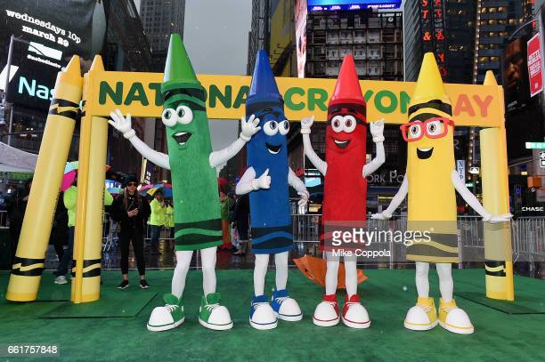 Crayola Characters Scarlett Rod Gus and Denny celebrate Dandelion's retirement on National Crayon Day at an event in Times Square on March 31 2017 in...