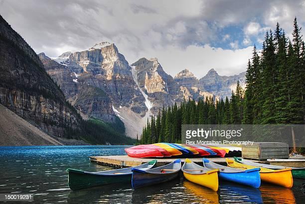 Crayon canoes at Moraine lake