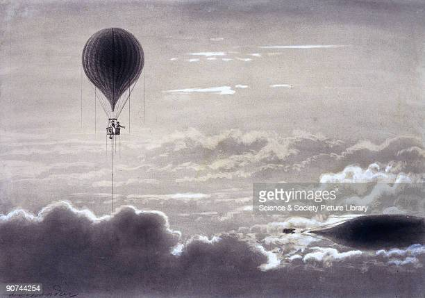 Crayon drawing showing the scientific balloon ascent made by the English meterologist James Glaisher on 5 September 1862 In his efforts to determine...