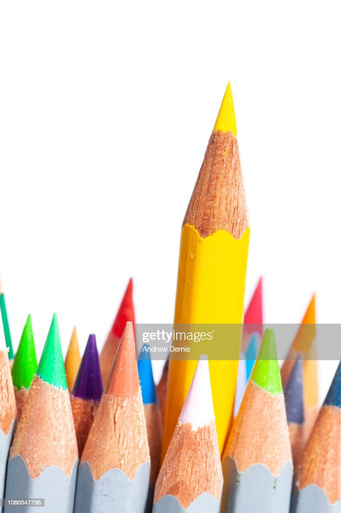 Crayon, Pencil, standout from the crowd business goals : Stock Photo