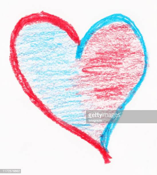 crayon sketch of a heart on white background - medical icons stock pictures, royalty-free photos & images