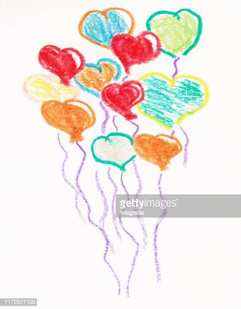 crayon sketch of flying hearts on white background - donate icon stock photos and pictures