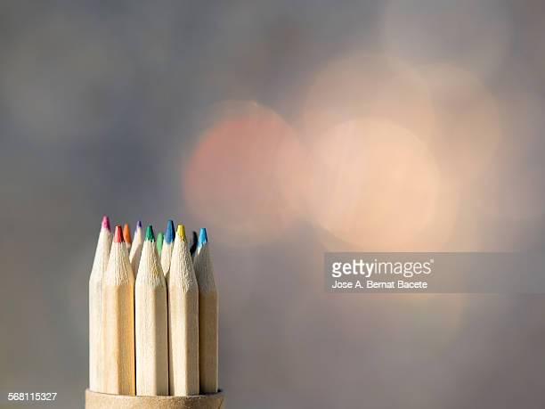 Crayons in cardboard case.